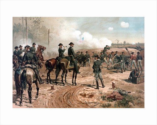 Digitally restored Civil War artwork featuring General Sherman on horseback. by John Parrot
