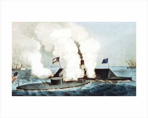 Digitally restored Civil War vector image showing the Battle of Hampton Roads. by John Parrot