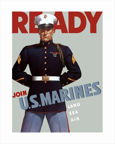 Marine Corps recruiting poster from World War II. by John Parrot