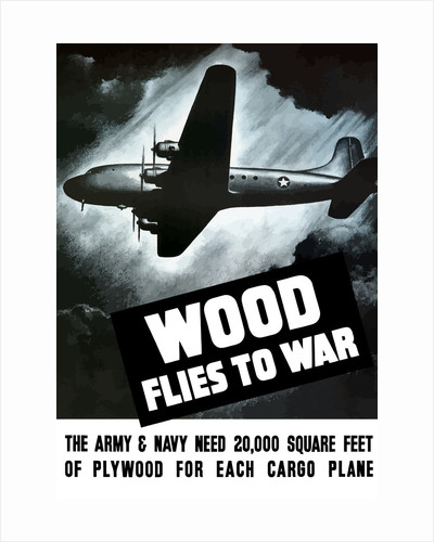 Vintage World War II poster of an Army cargo plane flying through the night sky. by John Parrot