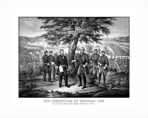 Civil War print showing the surrender of General Robert E. Lee to General Ulysses S. Grant. by John Parrot