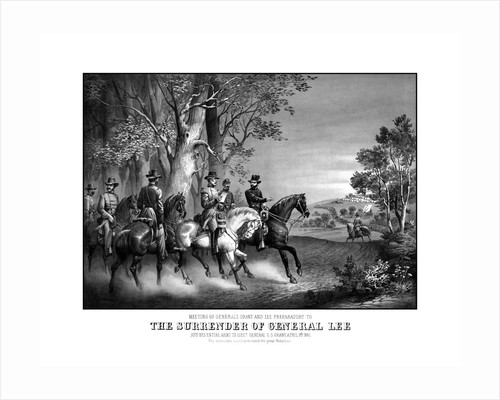 Vintage Civil War print showing the meeting of Generals Robert E. Lee and Ulysses S. Grant by John Parrot