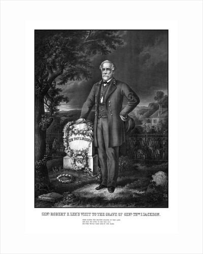Civil War print of General Lee visiting the grave of General Thomas Jackson. by John Parrot