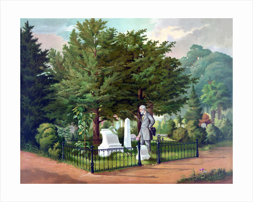 Civil War color painting of General Lee visiting the grave of General Thomas Jackson. by John Parrot