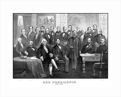 Vintage print of the first twenty-one Presidents seated together in The White House. by John Parrot
