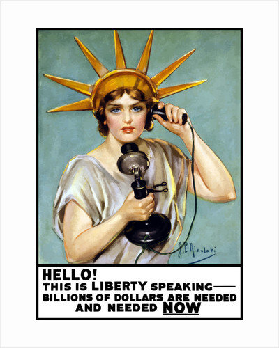 Vintage World War I poster of the Statue of Liberty talking on the telephone. by John Parrot