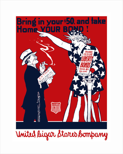 Vintage World War I poster of a man smoking a cigar as Lady Liberty points at him. by John Parrot