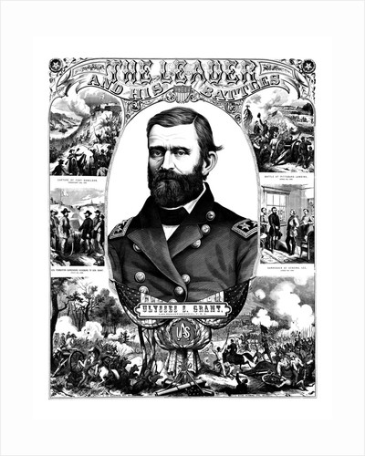 Vintage Civil War poster of General Ulysses S. Grant wearing his military uniform. by John Parrot
