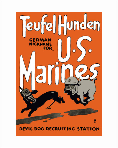 Vintage World War One poster of a Marine Corps bulldog chasing a German dachshund. by John Parrot
