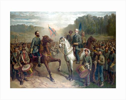 Vintage Civil War painting of Gernal Lee and Jackson on horseback. by John Parrot