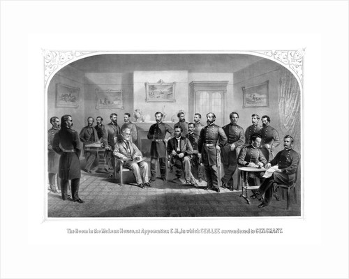 Civil War print of General Lee surrendering his Confederate forces to General Grant. by John Parrot