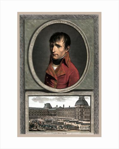 Vintage military portrait of Napoleon Bonaparte above a troop review. by John Parrot