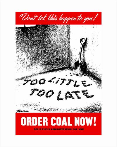 Vintage World War II poster of a shovel in an empty coal cellar. by John Parrot