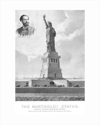 Vintage print showing The Statue of Liberty and a portrait of it's sculptor. by John Parrot