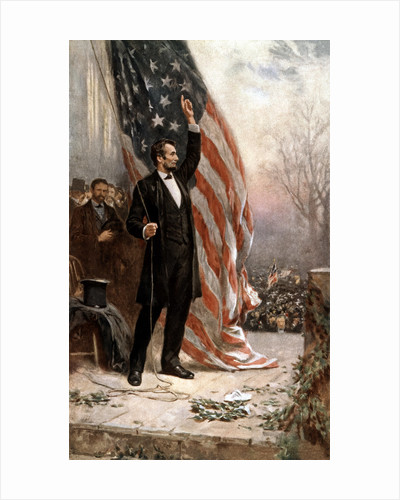 American Civil War painting of President Abraham Lincoln holding the American flag. by John Parrot