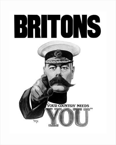 English World War I propaganda poster featuring Lord Kitchener. by John Parrot