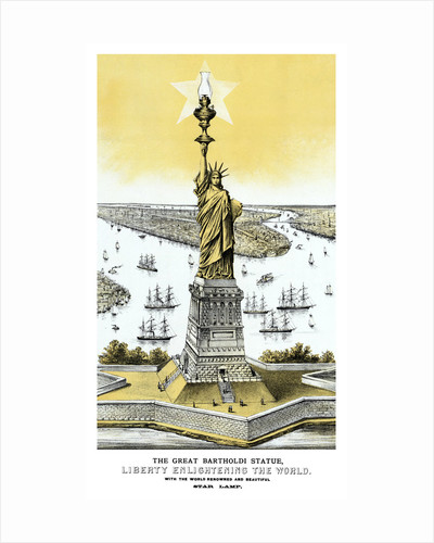 Vintage color architecture print featuring The Statue of Liberty. by John Parrot