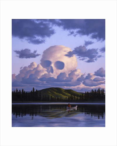 A cloud formation depicting a skull, with a lake and canoeist below. by Jerry LoFaro