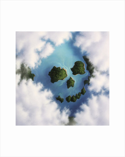 Islands framed by clouds forming a skull. by Jerry LoFaro