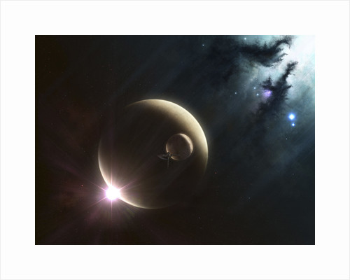 Artist's concept of two dusty moons. by Kevin Lafin