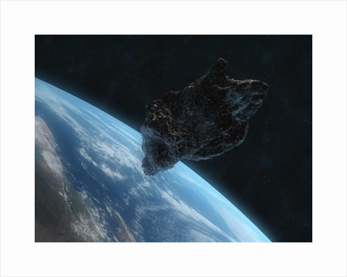 Asteroid in front of the Earth. by Carbon Lotus