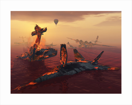 The destruction of fighter planes as the result of several wars. by Mark Stevenson