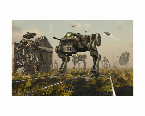 A 3D conceptual image where man uses machines on the battlefield. by Mark Stevenson