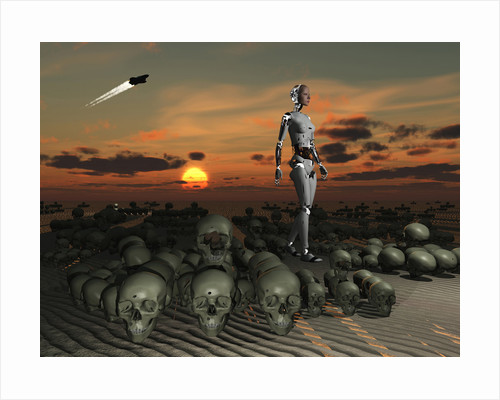 An android walks amongst a pile of skulls on the planet Earth. by Mark Stevenson