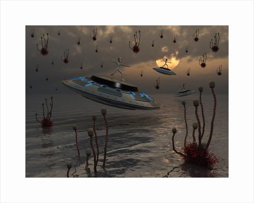 Aliens celebrate their annual harvest on their UFO's. by Mark Stevenson