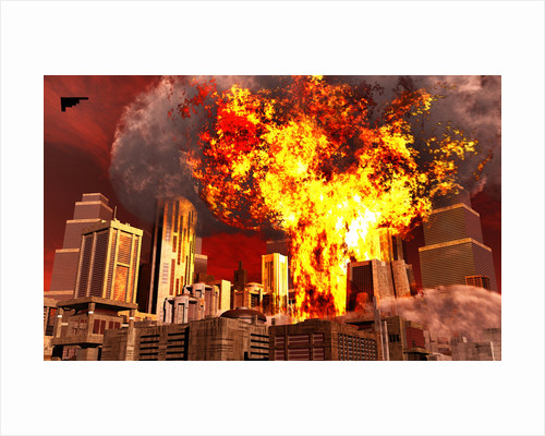 A 3D conceptual image of a stealth bomber nuking a city. by Mark Stevenson
