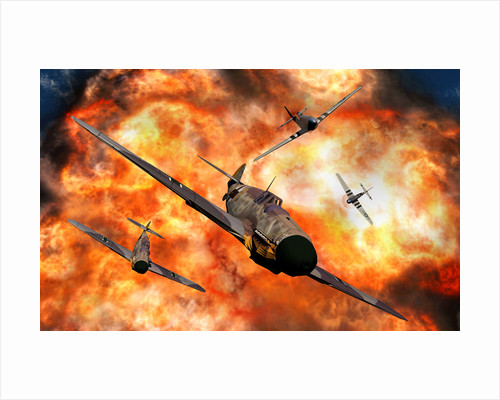 American P-51 Mustangs involved in aerial combat with German Messerschmitt BF109 fighter planes. by Mark Stevenson