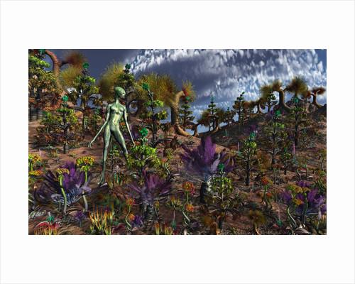 An alien being surveys the colorful landscape. by Mark Stevenson