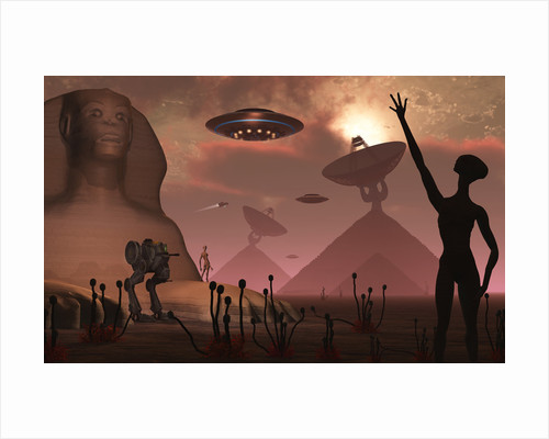 Pyramids used as communication centers on an alien world. by Mark Stevenson