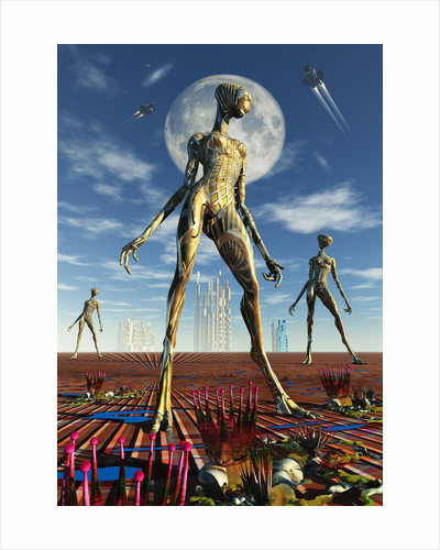 Alien reptoid beings wearing organic metallic suits. by Mark Stevenson