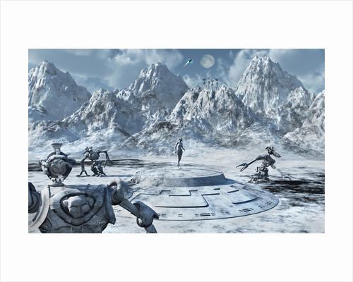 A robotic survey team exploring an ice world. by Mark Stevenson