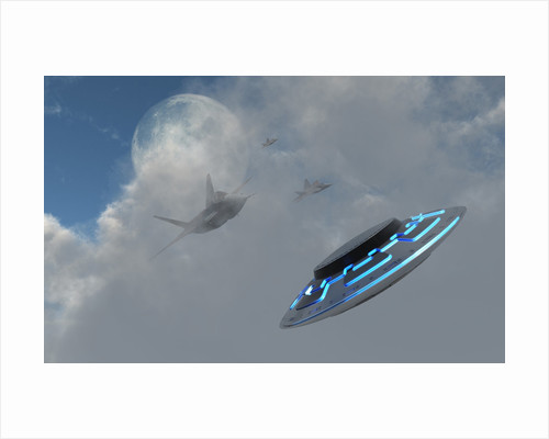 F-22 stealth fighter jets on the trail of a mysterious UFO. by Mark Stevenson