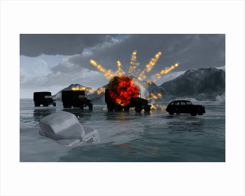 A convoy of military vehicles with one truck exploding. by Mark Stevenson