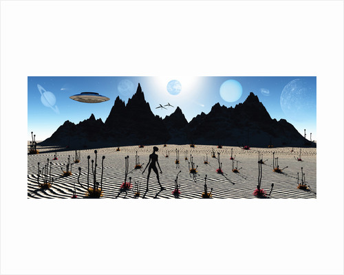 A reptoid alien being on a distant alien world. by Mark Stevenson