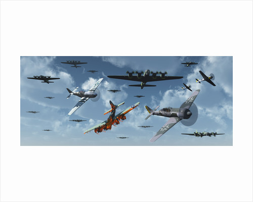 B-17 bombers and P-51 Mustangs under attack from German fighter planes. by Mark Stevenson