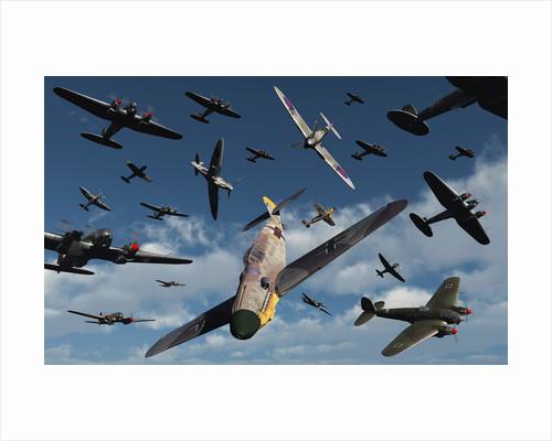 British Supermarine Spitfires attacking German Heinkel bombers and escorts. by Mark Stevenson