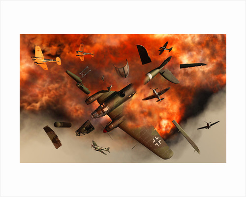 A German Heinkel bomber plane blowing up during the Battle of Britain. by Mark Stevenson