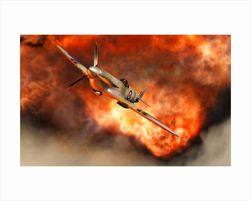 A British Supermarine Spitfire bursting through explosive flames. by Mark Stevenson