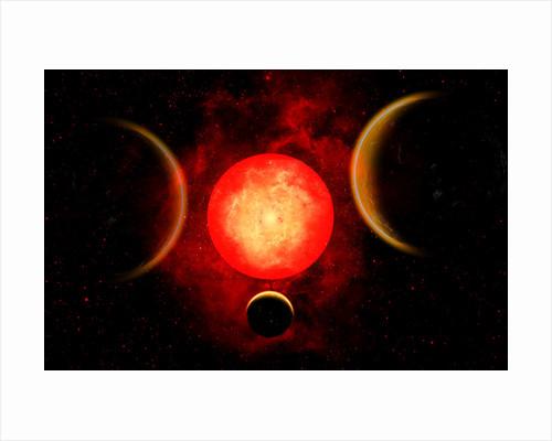 A red giant star, planetary star system. by Mark Stevenson