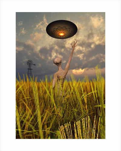 An alien being directing a UFO in making crop circles. by Mark Stevenson