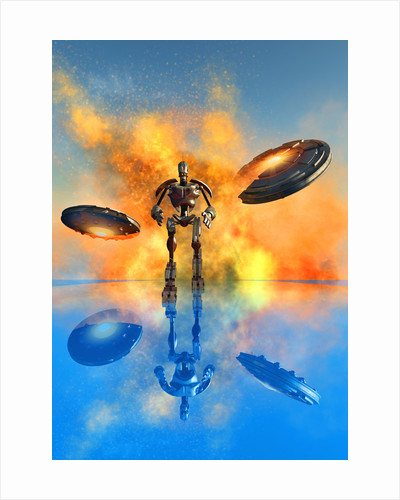 A giant robot and UFO's on the attack. by Mark Stevenson