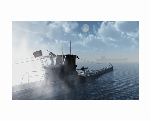 A German U-Boat moving in against an allied cargo ship. by Mark Stevenson