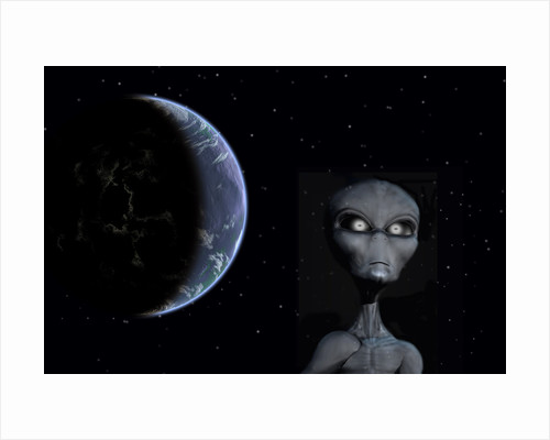 A Grey Alien with planet Earth in the background. by Mark Stevenson