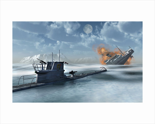 A German U-Boat attacking and sinking a ship. by Mark Stevenson