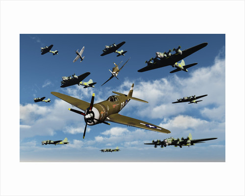 P-47 Thunderbolts escorting B-17 Flying Fortress bombers. by Mark Stevenson