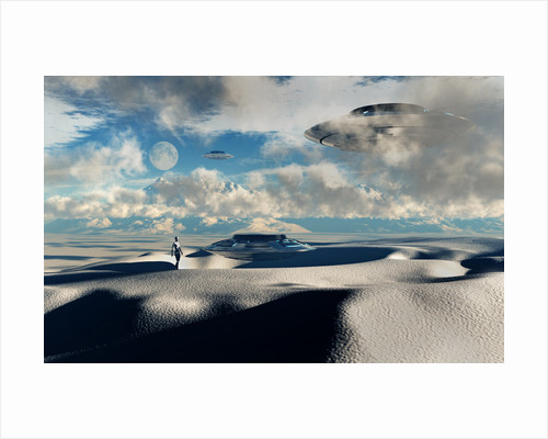 Alien base with UFOs located in the Antarctic. by Mark Stevenson